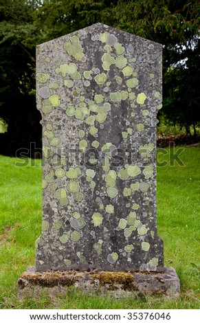 View of headstone covered with old moss and lichens - stock photo