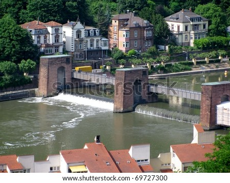 View of Heidelberg old town from across the River Neckar, Germany
