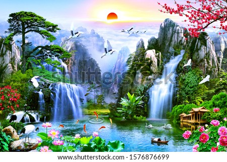 View of high mountain with waterfall and birds at sunset for wall decoration. 3D rendering