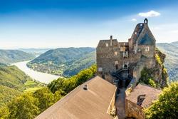 View of historic Aggstein castle ruin on the Danube river. Lower Austria.