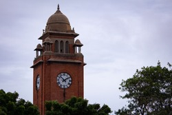 View of historic and popular clock tower near Marina Beach, Chennai, Tamil Nadu, India