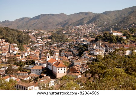 View of historic city of Ouro Preto, Brazil