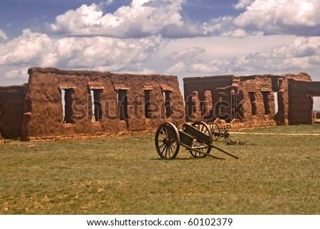 View of historic Fort Union with cannon from Fort Union National Monument in New Mexico