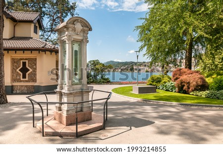 View of historic limnimeter in Parco Ciani in Lugano, used to measure the water height of the lake Lugano, Ticino, Switzerland Zdjęcia stock ©