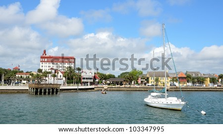 View of historic St. Augustine, Florida  riverfront on the Matanzas River.