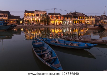 View of Hoi An at dusk. Hoi An is an UNESCO World Heritage site in Vietnam.