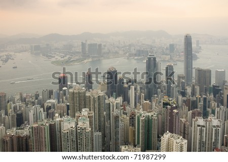 View of Hong Kong from Victoria Peak in the early evening
