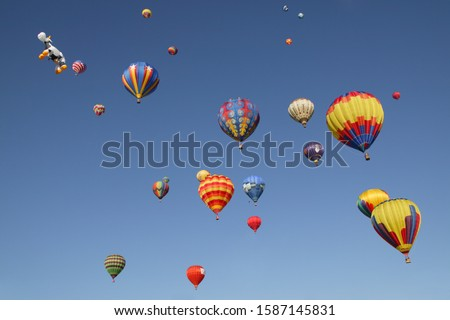 View of hot-air balloons against blue sky, Balloon Festival, Albuquerque, New Mexico, USA
