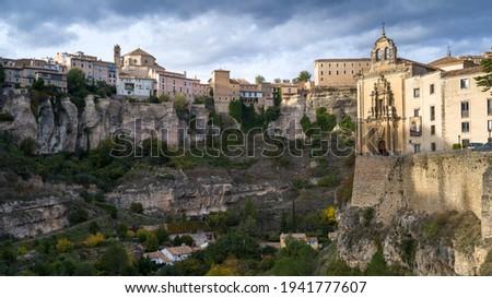 View of hotel and cathedral, Parador Nacional Of Cuenca, Cuenca, Cuenca Province, Castilla La Mancha, Spain Foto stock ©