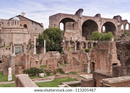 View of House of the Vestals and The Basilica of Maxentius and Constantine in the Roman Forum. Rome, Italy