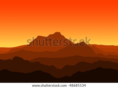 View of huge mountains in the evening - raster version.