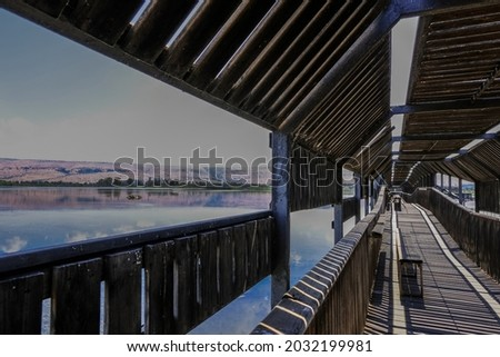 View of Hula Lake as seen from the covered observation bridge, Hula Nature Reserve, Hula Valley, Northern Israel, Israel.