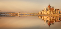 View of hungarian Parliament building at twilight in Budapest, Hungary