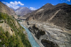 View of Hunza River and Karakoram Highway from Altit Fort.
