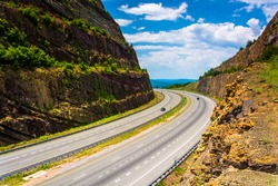 View of I-68 from a an overlook at Sideling Hill, Maryland.