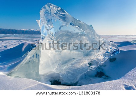 View of Ice floe on winter Baikal lake