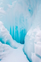 View of icicles in Altay mountains, Siberia, Russia