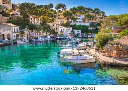 View of idyllic old fishing village harbor of Cala Figuera, Santanyi Mallorca #1192460611