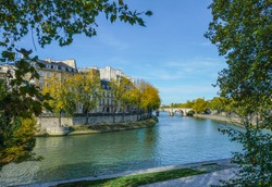 View of Ile Saint-Louis and the Seine River in Paris on an Autumn Day
