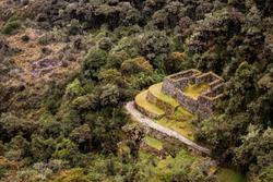 View of Inkan ruins from the Inka trail, Peru