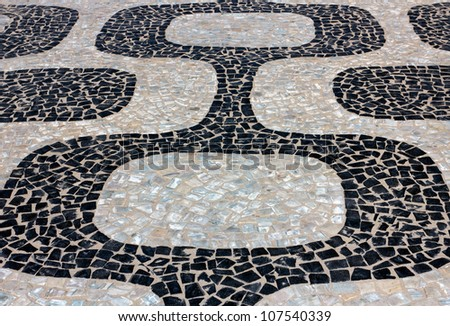 View of Ipanema Beach mosaic sidewalk