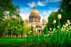 View of Isaac cathedral in spring in Saint Petersburg, Russia.
