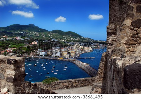 View of Ischia Ponte from Aragonese Castle, Italy