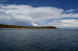 View of Isla del Sol from Lake Titicaca, Bolivian side of the lake