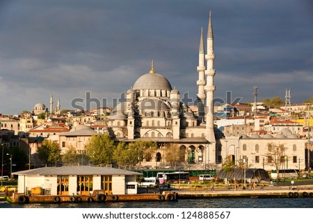 View of Istanbul city , the Golden Horn and New Mosque (Yeni Valide Camii), Turkey