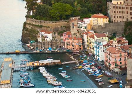 View of Italy's beautiful Amalfi Coast - stock photo