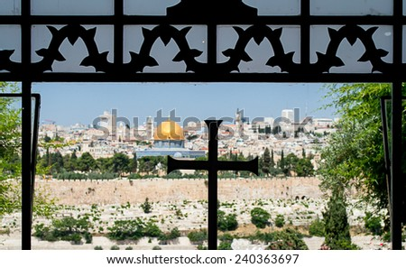 view of jerusalem from a church with the three religion symbols