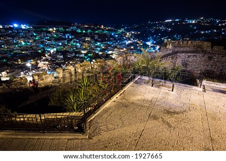 View of Jerusalem lights from the Old City at night, Israel - horizontal