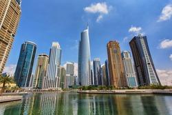 View of Jumeirah Lakes Towers skyscrapers. Dubai, UAE.