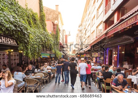 View of Kadikoy Popular streets where People love walking and visiting.Kadikoy is one of largest popular and cosmopolitan districts of Istanbul. TURKEY, ISTANBUL,29 JULY 2017