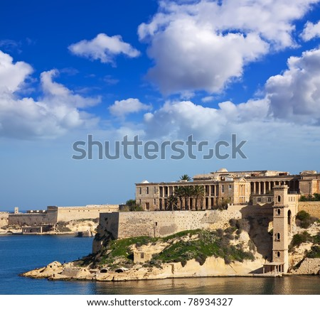 View of Kalkara from Grand Harbour. Malta