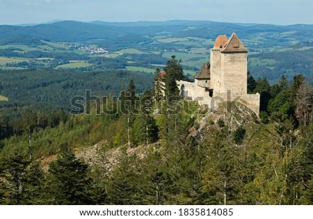 View of Kasperk castle from Pusty Hradek near Kasperske Hory,Plzen Region,Czech republic,Europe  Zdjęcia stock ©