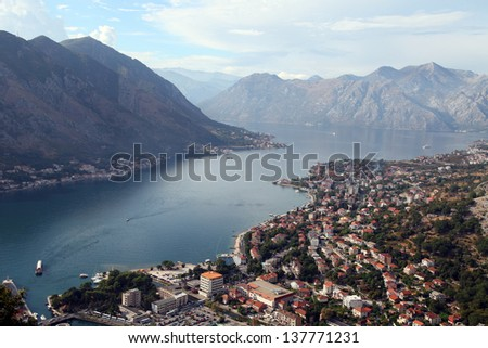 View of Kotor old town from Lovcen Mountain in Kotor, Montenegro. Kotor is part of the UNESCO World Heritage Site.