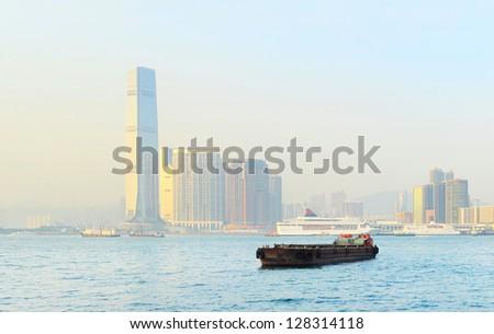 View of Kowloon island at sunset. Hong Kong S.A.R.