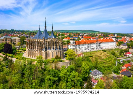 View of Kutna Hora with Saint Barbara's Church that is a UNESCO world heritage site, Czech Republic. Historic center of Kutna Hora, Czech Republic, Europe.  Foto stock ©