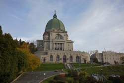 view of l'oratoire saint joseph du mont royal at chemin queen mary in montreal of quebec, canada