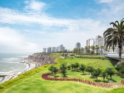 View of la Costa Verde coast along the Miraflores neighborhood in Lima, Peru