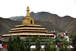 View of Labrang Monastery, an important place of Tibetan Buddhism, Gannan, China