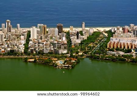 View of Lagoa de Freitas, Ipanema, Leblon in Rio de Janeiro - stock photo