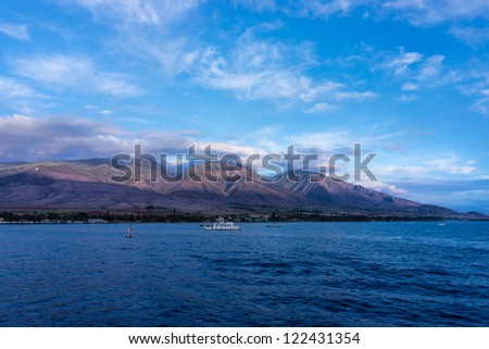 VIew of Lahaina in Maui at sunset, Hawaii, USA