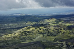 View of Lakagigar area with volcanic craters covered with moss from above, Iceland