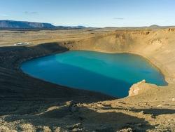 View of lake in volcanic crater, Krafla Viti Crater, Skutustaoahreppur, Northeastern Region, Iceland