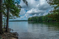 View of Lake Lanier, Georgia from the shoreline with trees alongside with exposed roots and a boat ramp across in the woodlands and the mountains in the far distance on a cloudy sunny day in summer