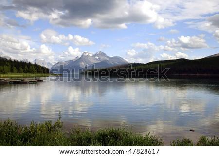 View of lake Minnewanka in Banff National park.