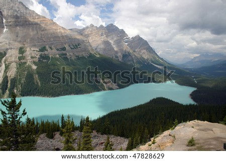 View of lake Peyto in Banff National Park.