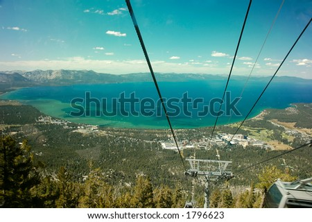 View of Lake Tahoe from a gondola